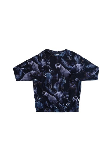 Molo Molo Siyah - Lacivert Kız Bisiklet YakaBaskılı Çocuk T-Shirt Siyah